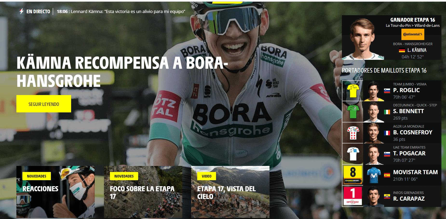 Lennard Kämna doblegó a un ganador del Giro d'Italia Richard Carapaz
