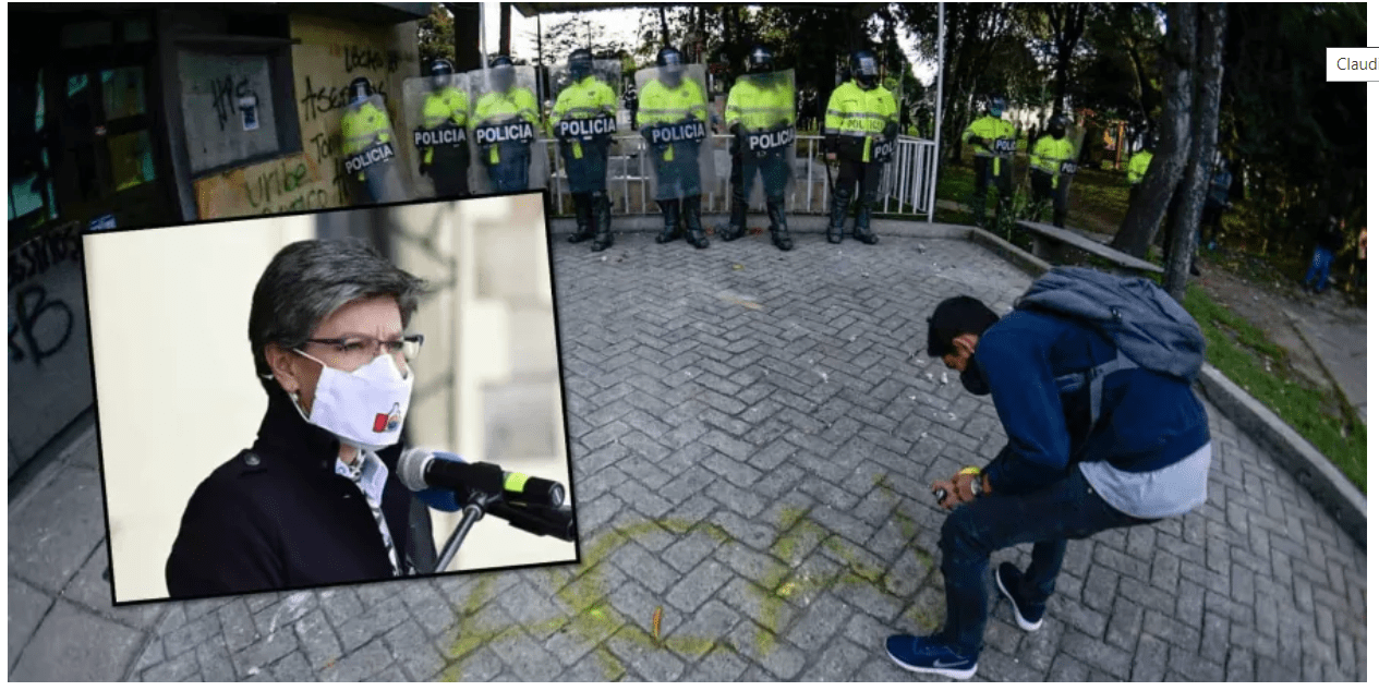 Claudia López  se enfrenta la Policía en Bogotá y revela cifras de disturbios