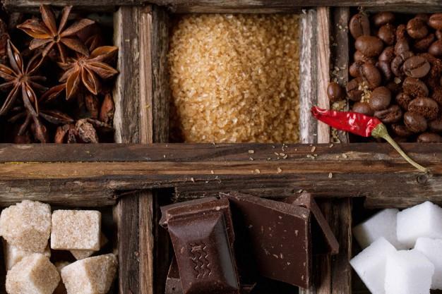 Café, chocolate, azúcar con IVA de 5%, la sal en 0%