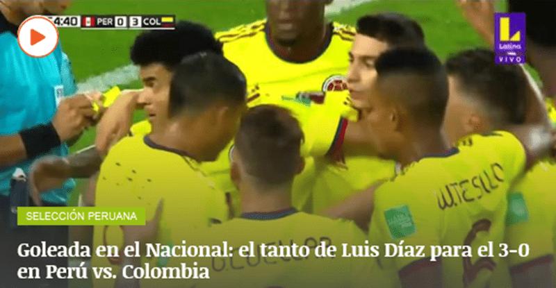 Colombia recuperando el tiempo perdido, superó a Perú en Lima 3-0