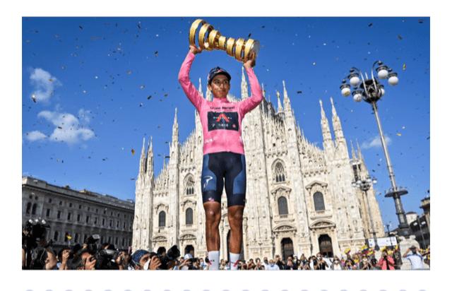 Egan Bernal, explosión de felicidad con Tour y Giro, de fondo il Duomo
