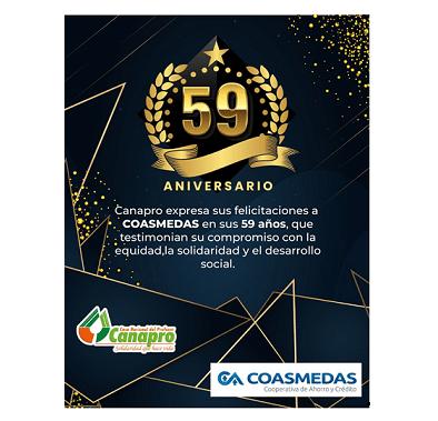 Reconocimiento solidario de Canapro a Coasmedas en su Aniversario 59º