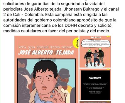 AIN, pide al Gobierno colombiano medidas de protección a J. S. Tejada